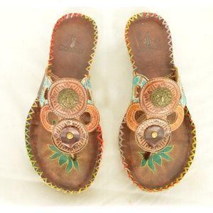 Corkys sandals Antiqua thongs US 8 EU 38 brown tur